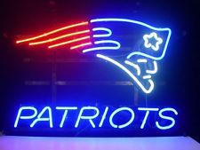 New Rare ENGLAND PATRIOTS BUD LIGHT REAL GLASS NEON SIGN DISPLAY BEER BAR PUB