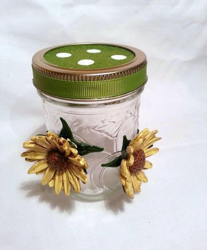 sunflower jar, handmade container, storage jar, kitchen storage, teabag storage jar, home and living, kitchen and dining, table decor, by BloominClay on Etsy