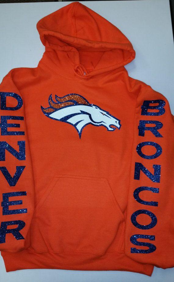 Broncos Glittery Unisex Hoodie , super shinny sparkle wont flake Denver Colorado Women will love it!!