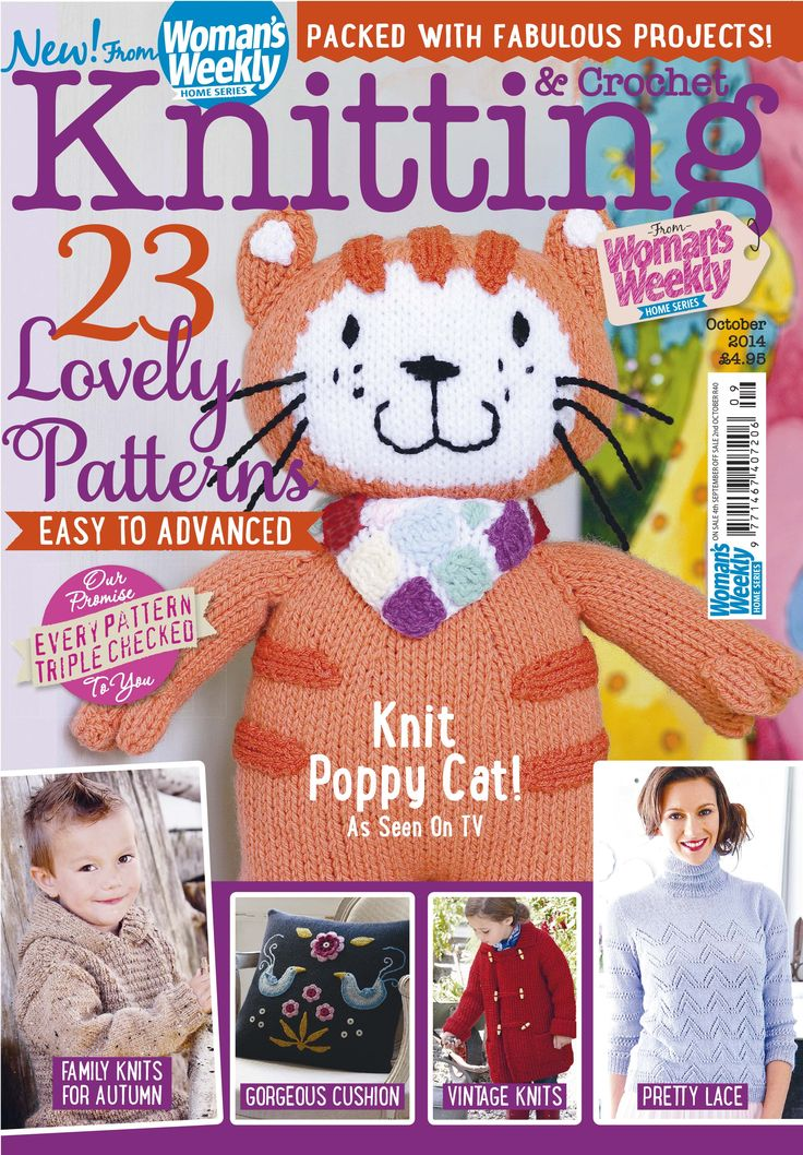 Poppy Cat on the cover of the new October issue of Knitting & Crochet magazine