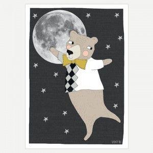 Moonlight Bear Art Print - Bear with moon and stars art print