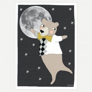Moonlight Bear Art Print - Bear with moon and stars art print