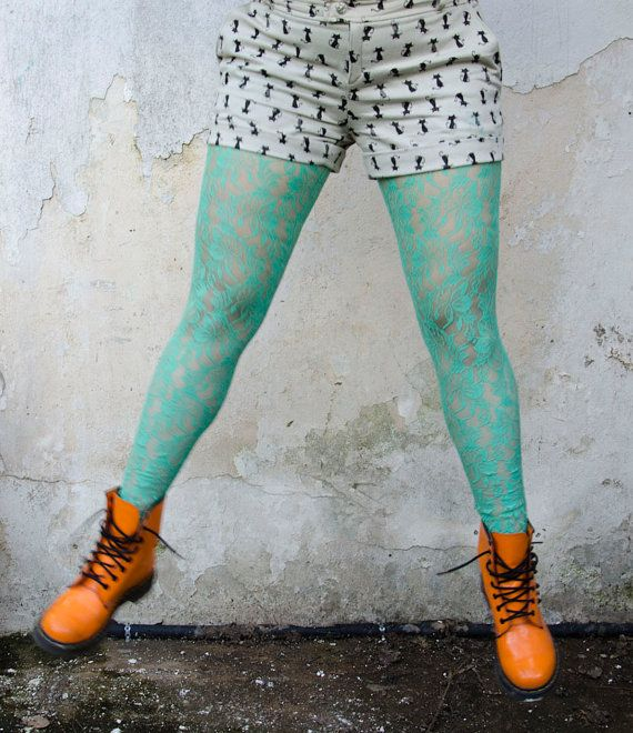 Mint Lace Leggings, Handmade Spring Tights, Also available in Raspberry and Coral Pink. $40.50, via Etsy.