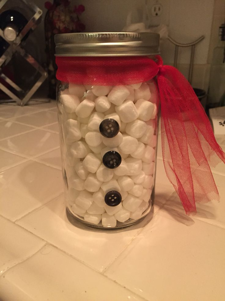 Snowman mason jar, I made for a guessing game!
