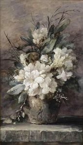 White Azaleas in a Pot, Oil On Canvas by Claude Monet (1840-1926, France)