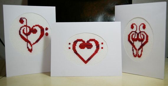 Music Cross Stitch Cards Music Heart by BlueTopazStitchery on Etsy, $7.00