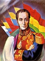 Simon Bolivar - Behind him are the flags of all modern South American nations that gained independence with his help he led revolts in Venezuela, Colombia, and Ecuador  Source--http://maestrosdebolivar.galeon.com/edu.html