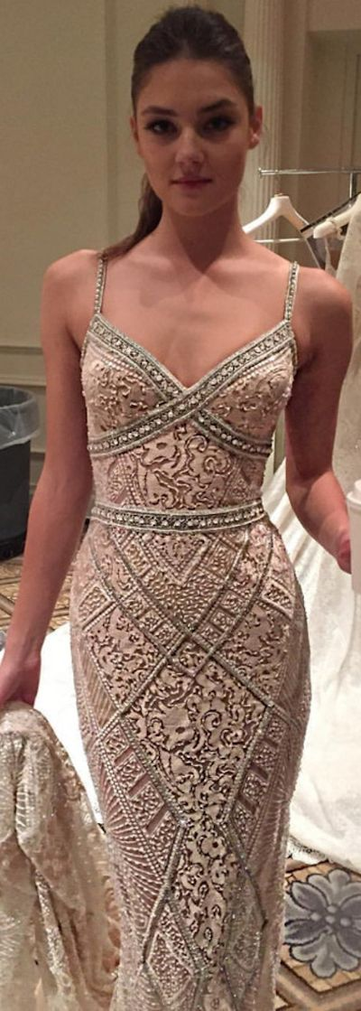 The shape on this @bertabridal gown is so ultra sexy - the detailing is like artwork, don't you think?