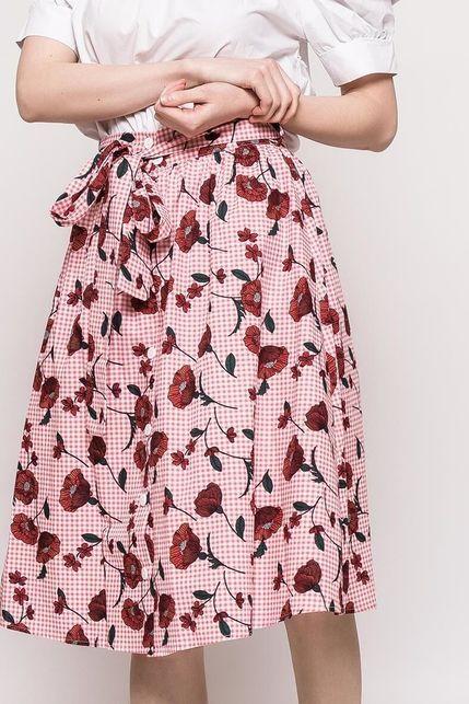 20246cc4d7ac Ružová károvaná sukňa s potlačou vlčieho maku