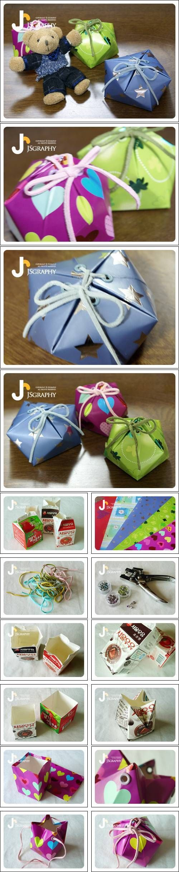 DIY Milk Carton Gift Box DIY Projects | UsefulDIY.com Follow Us on Facebook ==> http://www.facebook.com/UsefulDiy