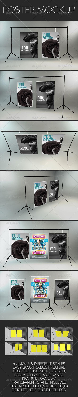 6 poster design photo mockups - Poster Mockup