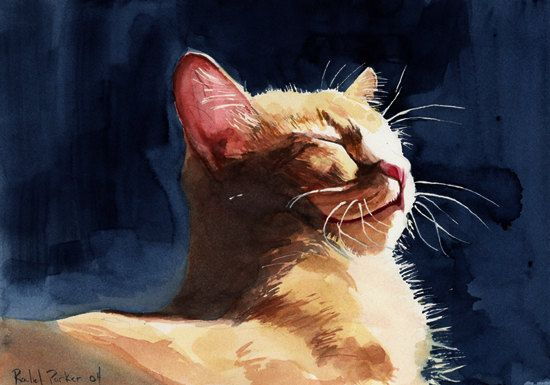 Orange Marmalade Tabby Cat Art Print of my watercolor painting Big Large