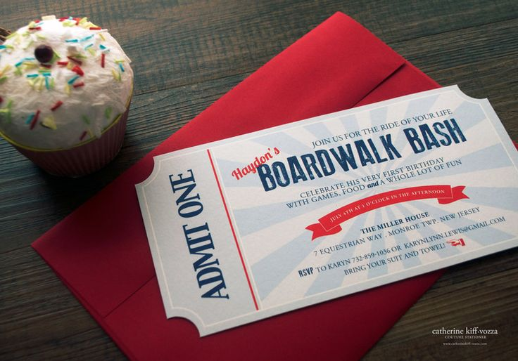 Vintage boardwalk themed invitation, ticket shaped.