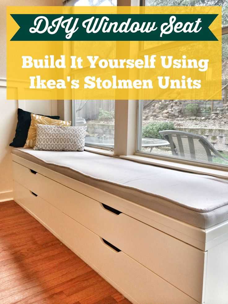 DIY window seat from Ikea Stolmen drawers - a better depth than kitchen cabinets, and you can have drawers instead of doors.