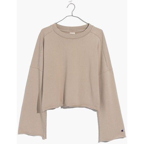 MADEWELL Champion® Bell-Sleeve Sweatshirt ($110) ❤ liked on Polyvore featuring tops, hoodies, sweatshirts, sand, beige hoodie, streetwear hoodies, sweatshirt hoodies, cropped hoodie sweatshirt and cotton hooded sweatshirt