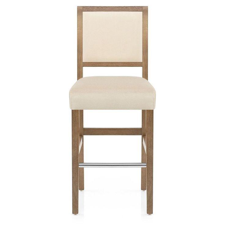 Upholstered Breakfast Bar Stool Oak Wood Cream Velvet Padded Chair Seat Footrest