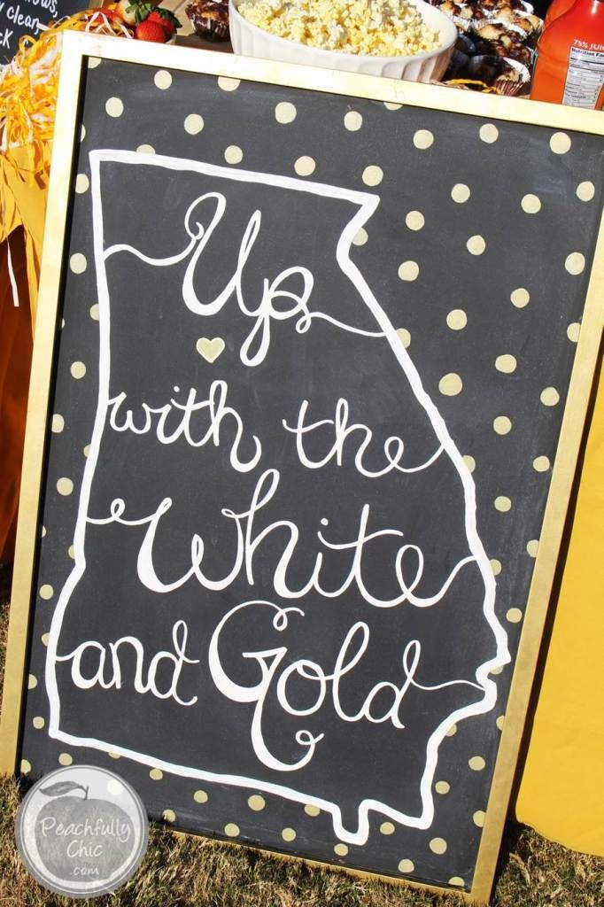 Up with the White and Gold - Georgia Tech Fight Song Chalkboard Sign - Tailgate Decor