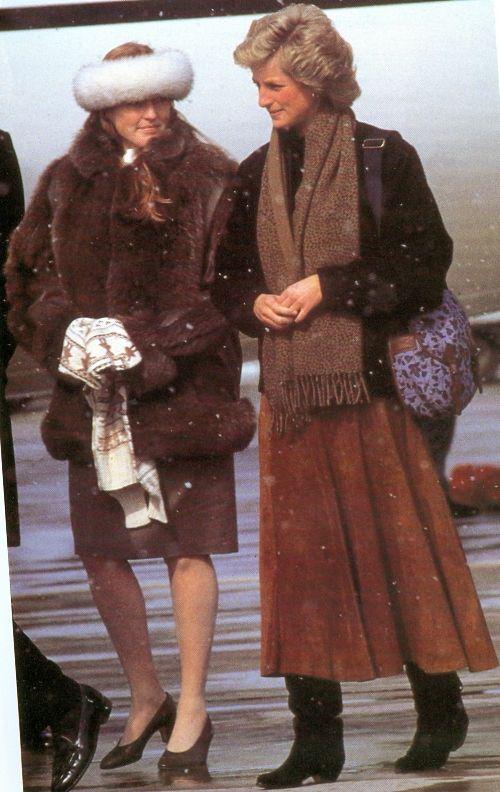 Sarah duchess of York and Diana princess of Wales arriving at skiing holiday