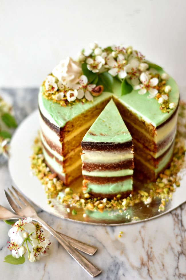 Pistachio and Lime Cake with Vanilla Swiss Meringue Buttercream
