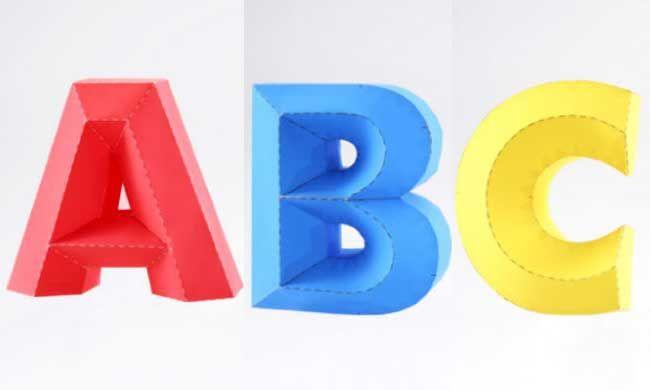 3D Alphabet Series 3 Free Papercraft Download - http://www.papercraftsquare.com/3d-alphabet-series-3-free-papercraft-download.html#3D, #Alphabet