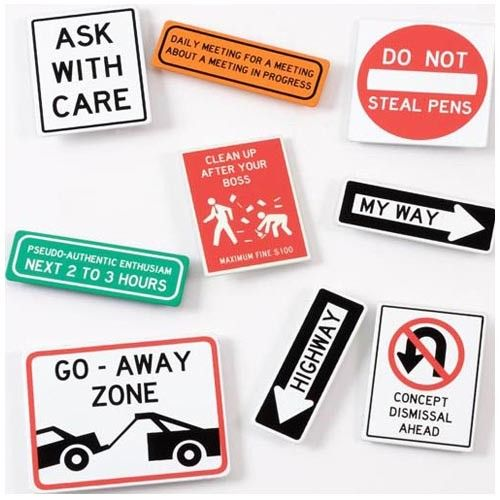 Road Sign Office Magnets - Set of 3 on Yellow Octopus #giftsformen #gifts #road #sign #office #magnets