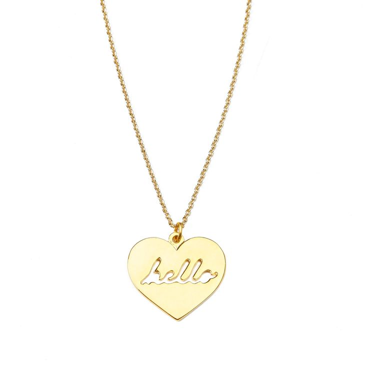 """Hello necklace - available in gold and silver. Get 25% off this necklace with code """"foxypin"""" www.foxyoriginals... Tags: gold jewelry, heart jewelry, gold, necklace"""