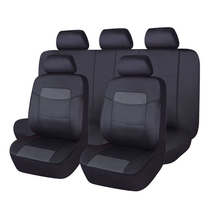 Flying Banner Classic Black Leatherette Car Seat Covers Universal Full Set With Airbag Compatible