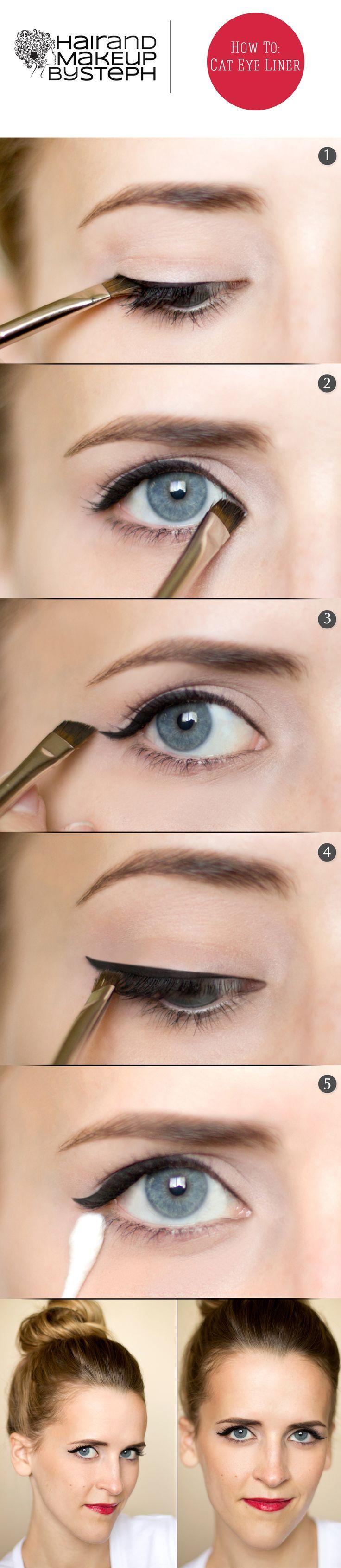 Cat Eye HOW TO. Try using Sephora Collection PRO Angled Eyeliner Brush #15.