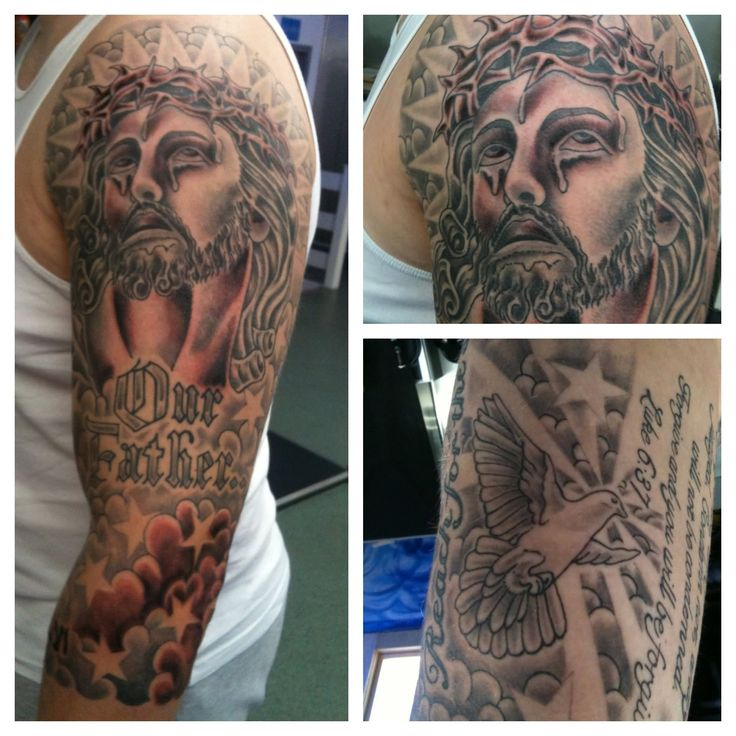 Crying Christian Jesus Face Tattoo On Man Left Full Sleeve
