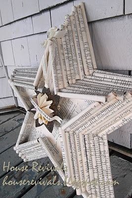 tutorial - old book pages: Paper Stars, Old Book Pages, Vintage Book, Rolls Paper, Shadows Boxes, Holiday Crafts, Rolls Book, Stars Design, Bookpage