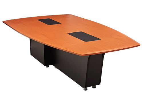 Table T3600 features an organic leaf shape which allows 360 degree seating when a bridge is not utilized. It features 2 islands for accommodating your electronics grommets/cubby's for easy plug in of laptops or USB keys and displaying on screen. Available as packages T3600 T1 (tower) and T3600 T3 (credenza). A cable bridge is included to pass all wiring through the table and avoid core drilling.
