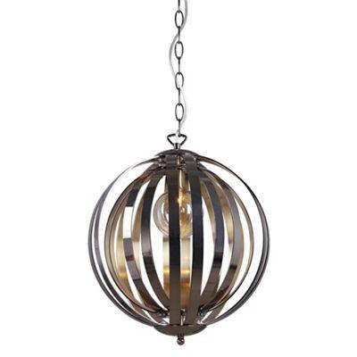 Home collection charlie gunmetal and champagne metal pendant light debenhams
