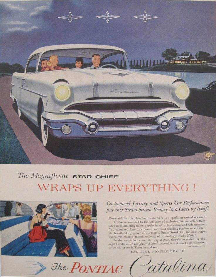"""1960s Matted American Car Advertisement, Pontiac Catalina. A fabulous lithographic car advertisement printed in the 1950s featuring the Pontiac Catalina and extolling its features (including the """"shimmering nylon, supple, hand-rubbed leather and rich carpeting"""" interior!)."""