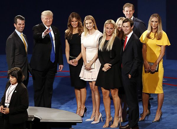 Republican presidential nominee Donald Trump, second from left, his wife Melania Trump, third from left, and family members appear on stage after the presidential debate with Democratic presidential nominee Hillary Clinton at Hofstra University in Hempstead, N.Y on September 26, 2016. (REX/Shutterstock)