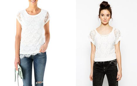 Obyčejný střih trička a bílá krajka? Skvělá kombinace! Na foto (zleva): Promod 700 Kč, ASOS 471 Kč; archiv firem