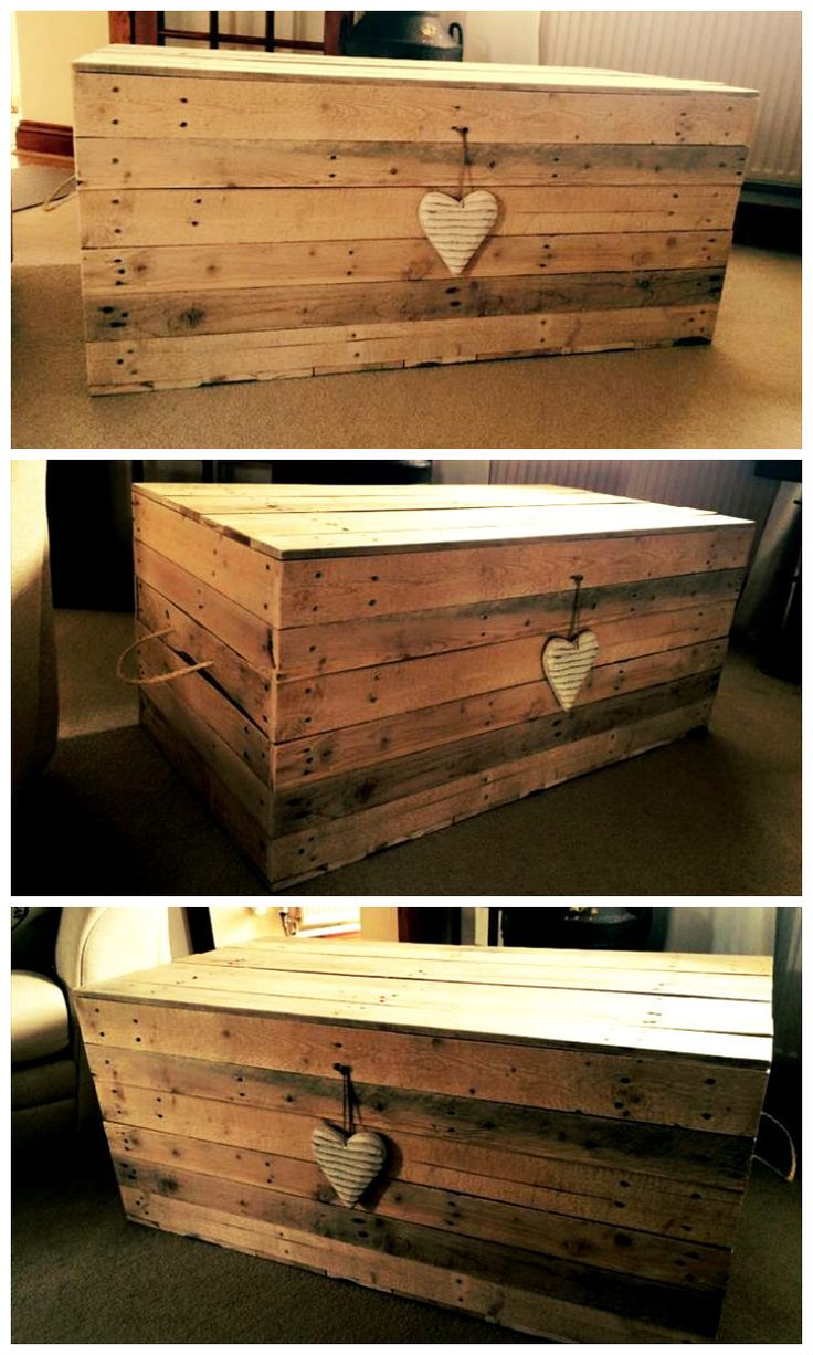 Pallet Chest to store blankets, jewelry items, tools, pillow covers, bedspreads and also kids toys! 100% #pallets Made - DIY Home Decor