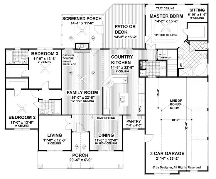 Level 12097 sq feet powder room vs full bath coats in for Sewing room floor plans