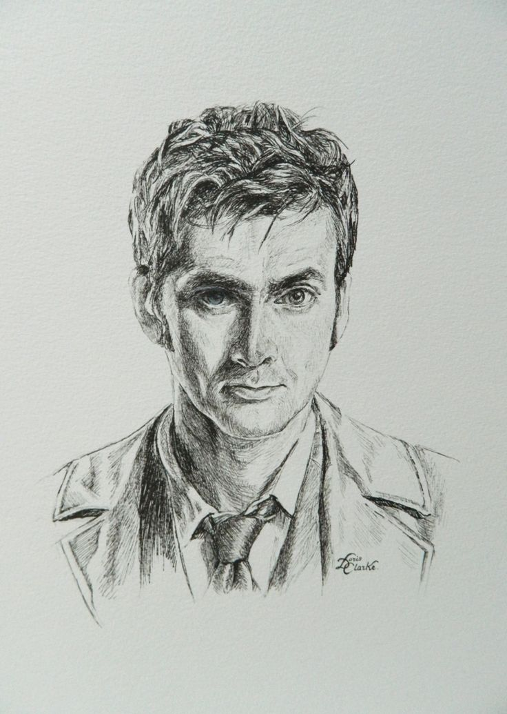 David Tennant as the 10th Doctor. Created using pen/ink. - Artwork copyright and uploaded by Doris.