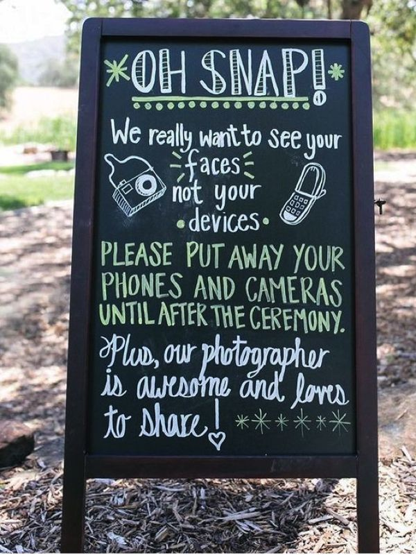 Unplugged wedding ideas. #wedding #sign