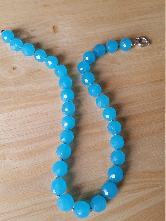 Blue gemstone necklace blue natural stone necklace crystal