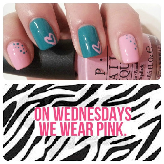 On Wednesday's We Wear Pink: NOTD  via @Krista Knight and HighHeels #nails #notd #manicures