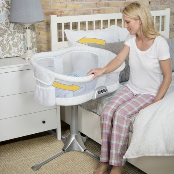 New Right Start Halo Bassinet - bassinet is fully height adjustable, swivels 360', has a nite lite and vibration on a timer. Side wall comes down for easy access to baby