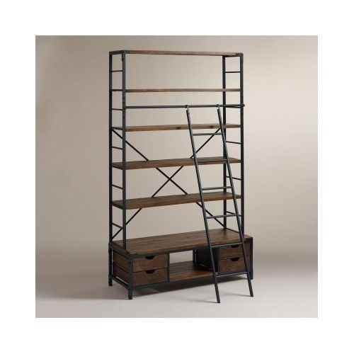 Ladder Bookcase Modern Vintage Industrial Bookshelf