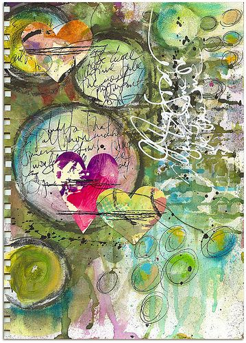 Art Journaling punched shapes messy handwriting, hand drawn circles