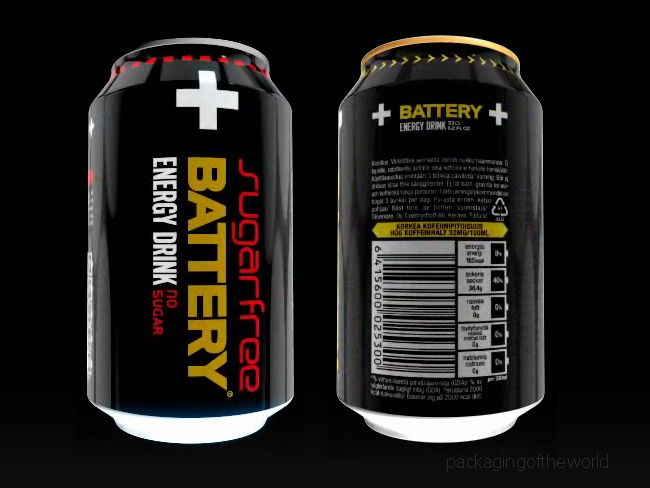 Packaging of the World: Creative Package Design Archive and Gallery: Battery Energy Drink