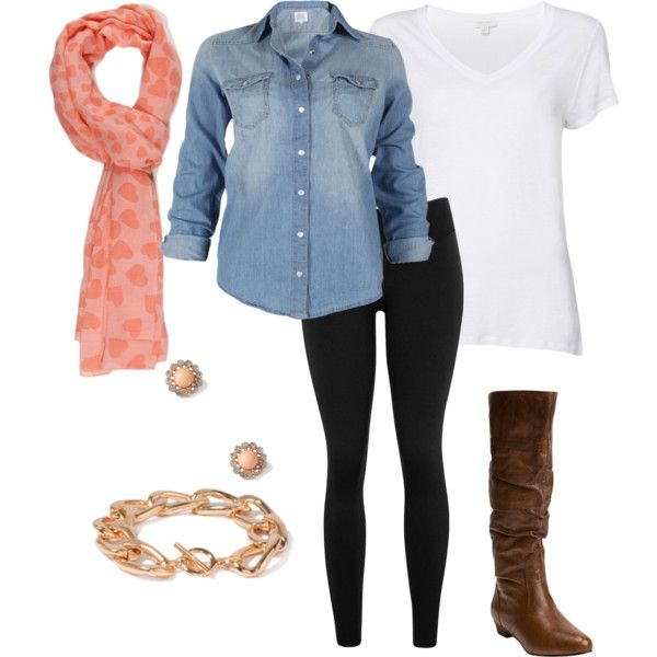 Casual Valentines outfit denim and white tank with black leggings and festive pink scarf, brown boots
