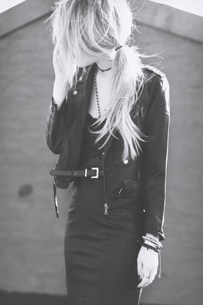 leather jacket pencil skirt