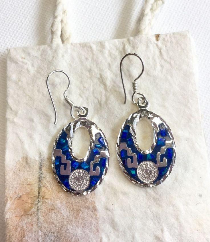 earrings mexican alpaca silver enamel oval style mayan calendar blue colour