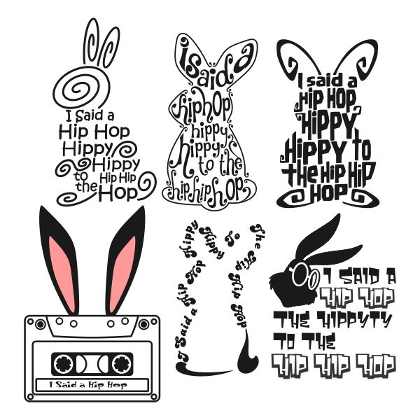 I Said A Hip Hop The Hippity To The Hip Hip Hop with Bunny and Casette Cuttable Design Cut File. Vector, Clipart, Digital Scrapbooking Download, Available in JPEG, PDF, EPS, DXF and SVG. Works with Cricut, Design Space, Sure Cuts A Lot, Make the Cut!, Inkscape, CorelDraw, Adobe Illustrator, Silhouette Cameo, Brother ScanNCut and other compatible software.