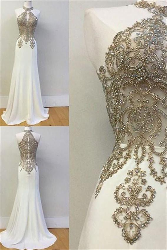 White High Neck Lace Applique Long Prom Dress evening party dresses
